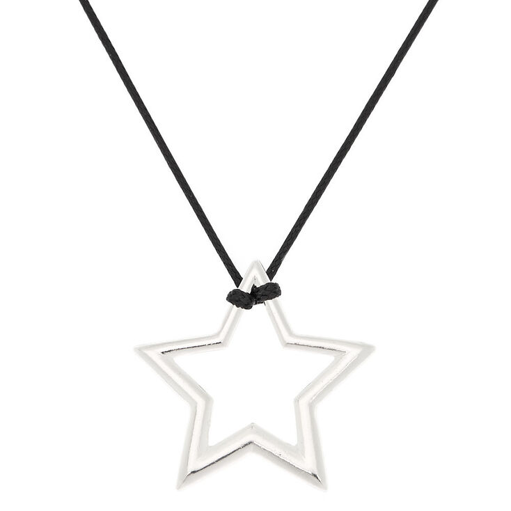 Silver Star Long Pendant Necklace,