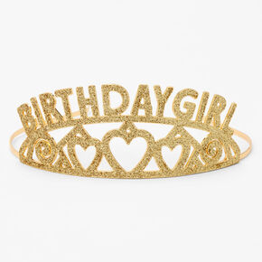 Birthday Girl Glitter Tiara - Gold,