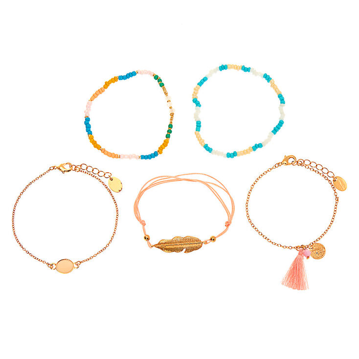 Gold Pastel Tropical Bracelets - 5 Pack,