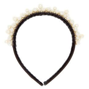 Pearl Cluster Black Headband,