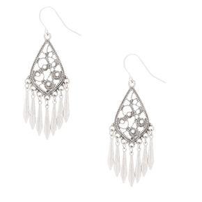"""Silver 1.5"""" Filigree Drop Earrings,"""