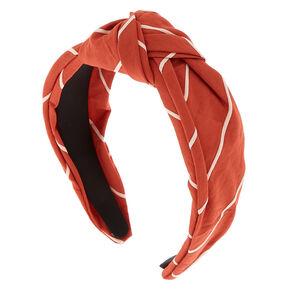 Striped Knotted Headband - Rust,