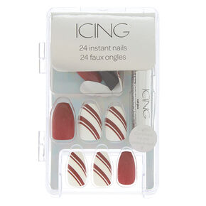 Candy Cane Faux Nail Set - Red, 24 Pack,