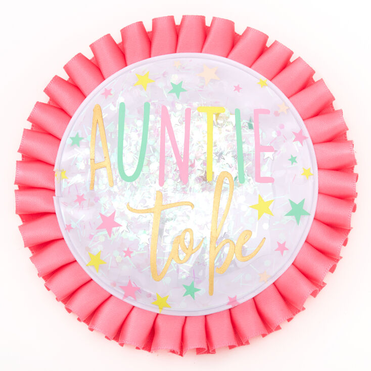 Auntie To Be Twinkle Star Button - Pink,