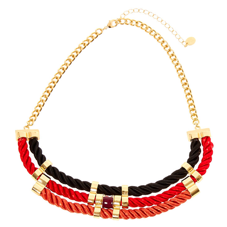 Black, Red & Gold Corded Statement Necklace,