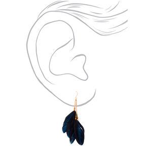 "Gold 3.5"" Chain Feather Drop Earrings - Black,"