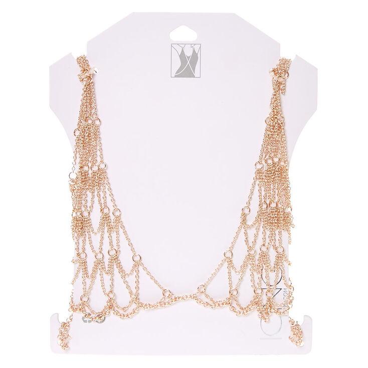 Rose Gold-Tone Bralette Body Chain,