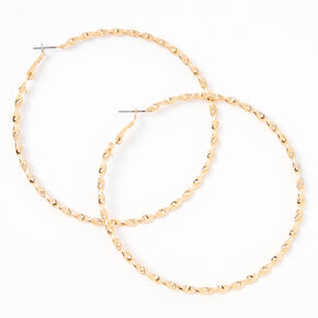 Gold 80MM Twisted Textured Hoop Earrings,