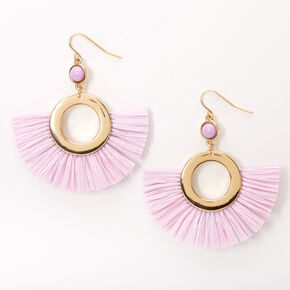 "Gold 2"" Beaded Circle Fan Drop Earrings - Lilac,"