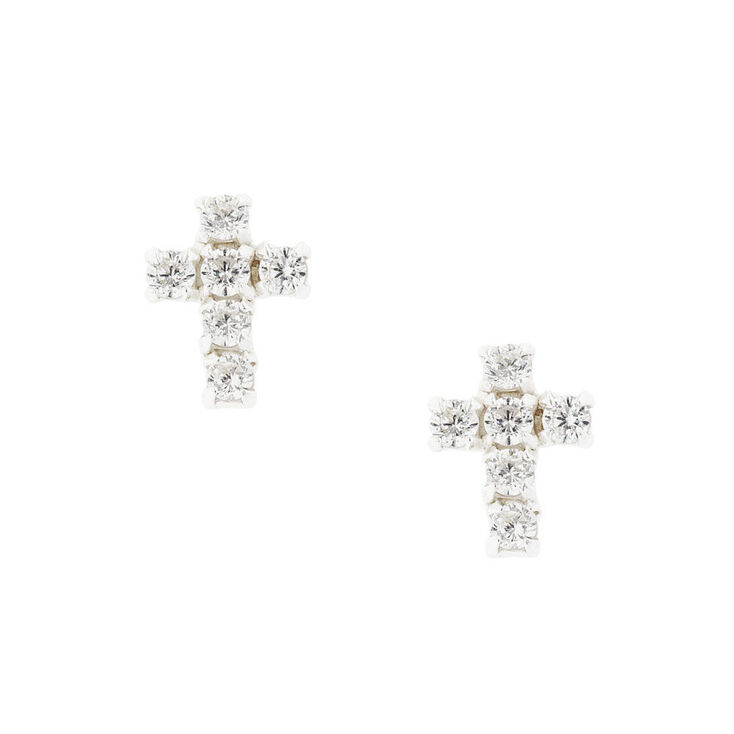 Sterling Silver Cubic Zirconia Cross Stud Earrings,
