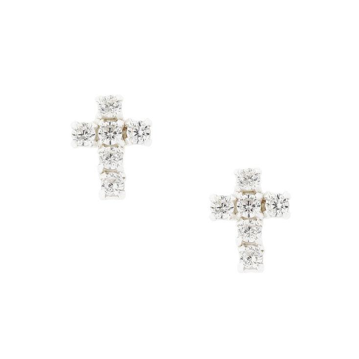 Sterling Silver Cubic Zirconia Cross Stud Earrings,