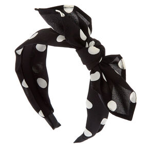 Polka Dot Bow Headband - Black,
