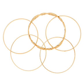 Gold Filigree Bangle Bracelets - 5 Pack,