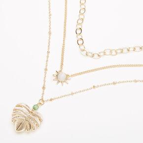 Gold Palm Leaf Stone Multi Strand Choker Necklace,