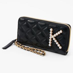 Initial Pearl Wristlet - Black, K,