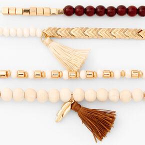Brown & Ivory Tassel Beaded Stretch Bracelets - 4 Pack,