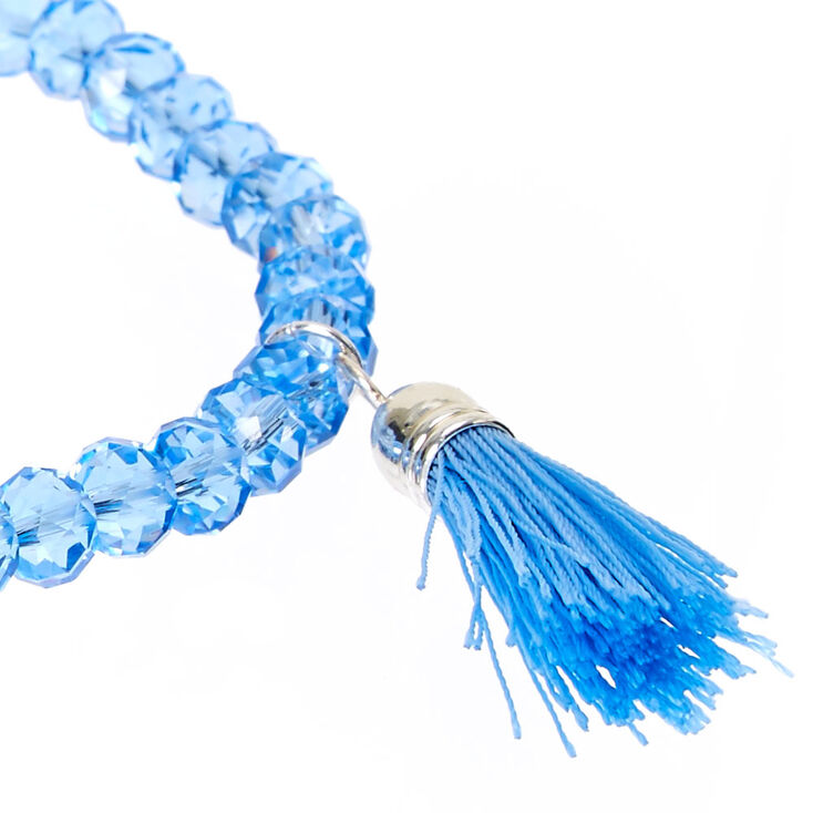 Light Blue Faceted Bead with Tassel Charm Stretch Bracelet,