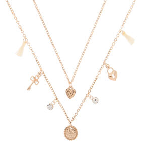 Rose Gold Lock & Key Pendant Necklaces - 2 Pack,