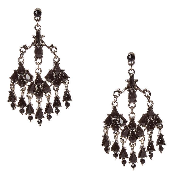 Victorian Black Crystal Drop Earrings,