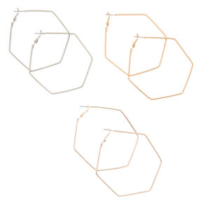 Mixed Metal 70MM Hexagon Hoop Earrings - 3 Pack,