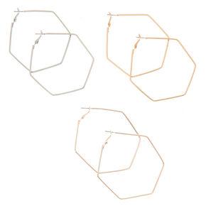 Mixed Metal 70MM Hexagon Hoop Earrings - 3 Pack,