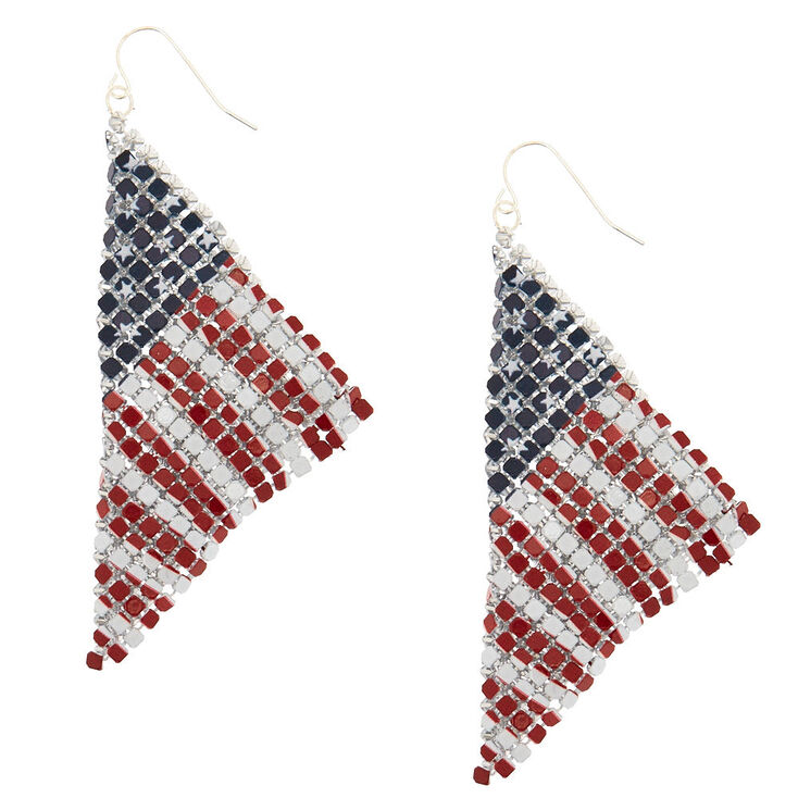 "3"" American Flag Mesh Drop Earrings,"