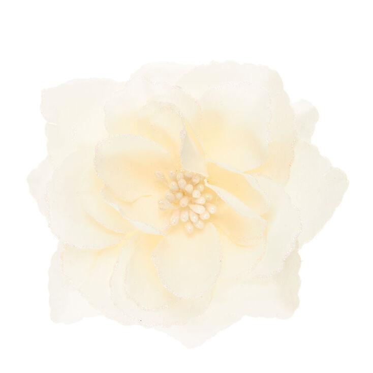Ivory Glitter Rose Hair Barrette,