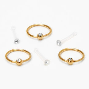 Gold 20G Retainer Stud & Hoop Nose Rings - Clear, 6 Pack,