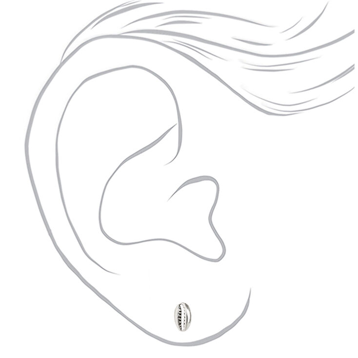 Sterling Silver Cowrie Shell Stud Earrings,