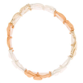 Mixed Metal Flower Stretch Bracelet,