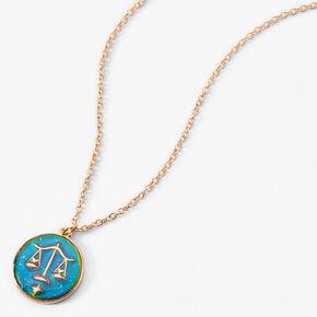 Gold Round Mood Zodiac Pendant Necklace - Libra,