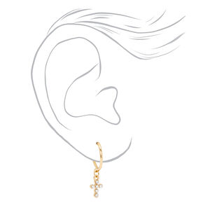 Gold Crystal Cross & Heart Mixed Earrings - 9 Pack,