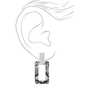 """Silver 2.5"""" Snake Print Drop Earrings,"""