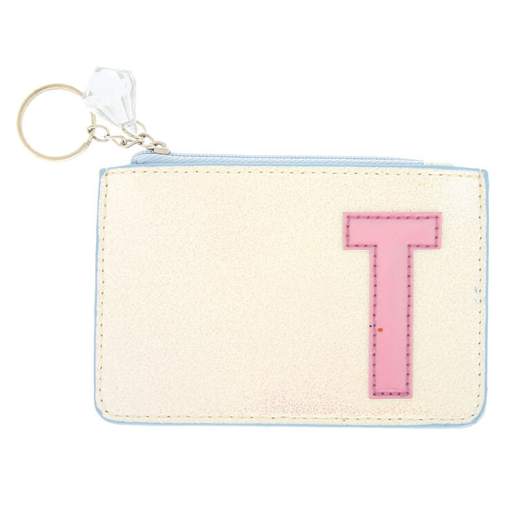 Pearlescent Initial Coin Purse - T,