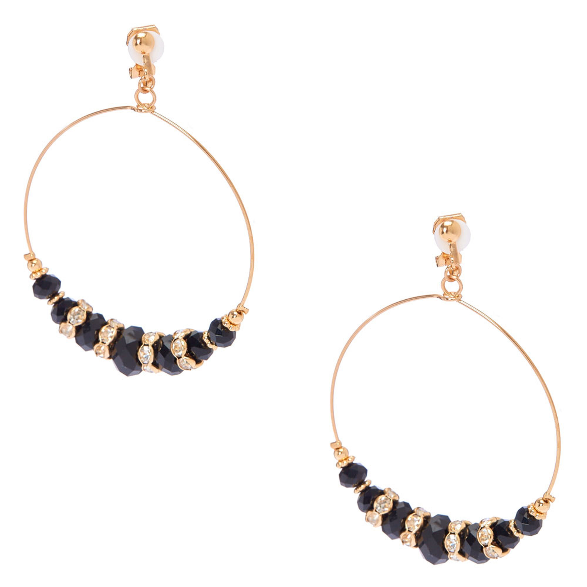 Gold Pillowed Black Beaded Clip On Hoop Earrings