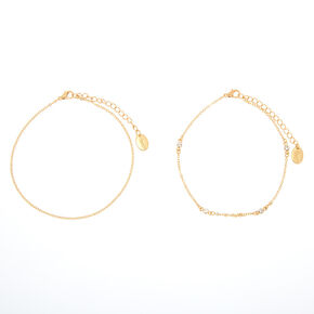 Gold Delicate Double Chain Anklet,