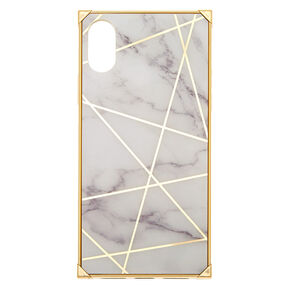 White Marble Geometric Square Phone Case - Fits iPhone XS Max,