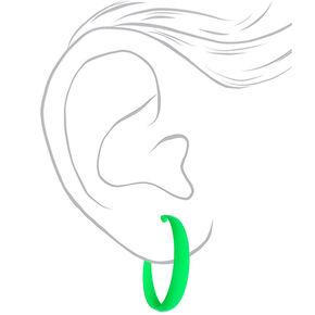 60MM Rubber Hoop Earrings - Neon Green,