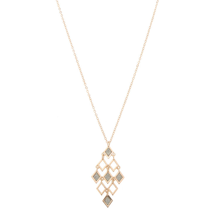 Glitter & Gold Long Pyramid Necklace,