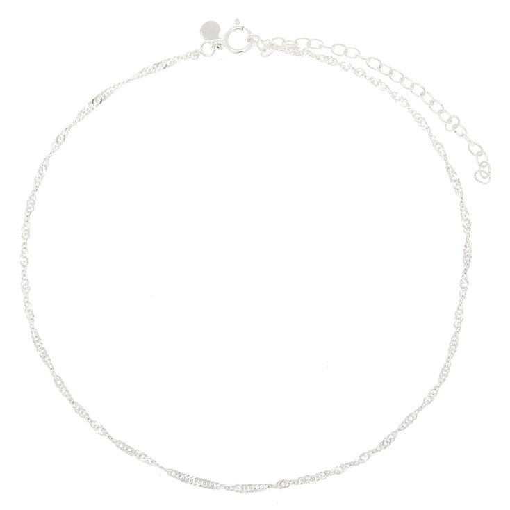 Sterling Silver Twisted Chain Anklet,