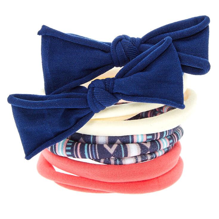 Pink & Navy Aztec Print Bow Hair Ties,