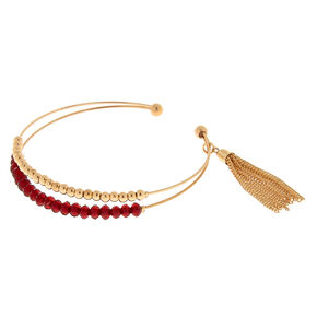 Gold Beaded Tassel Cuff Bracelet - Red,