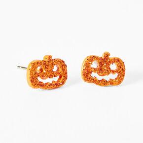 Sterling Silver Glitter Jack O'Lantern Stud Earrings,