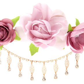 Rose Gold Leaf Chain Flower Crown Headwrap - Mauve,