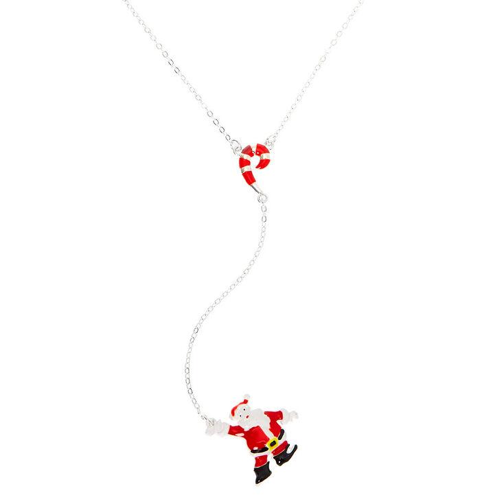 Silver Christmas Y-Neck Pendant Necklace,