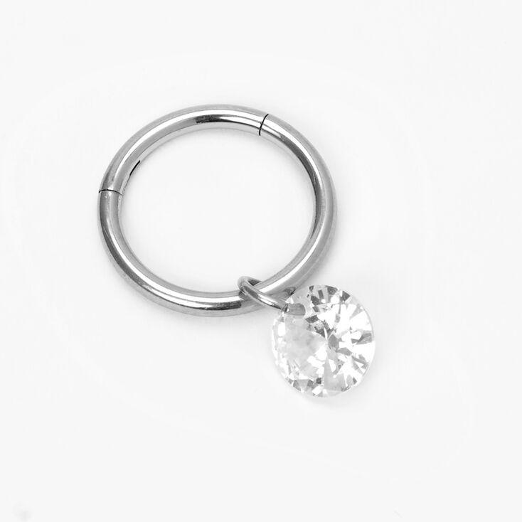 Silver 14G Faux Crystal Hoop Belly Ring,