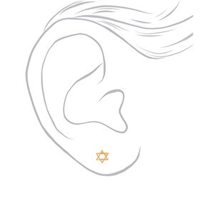 18kt Gold Plated Star of David Stud Earrings,