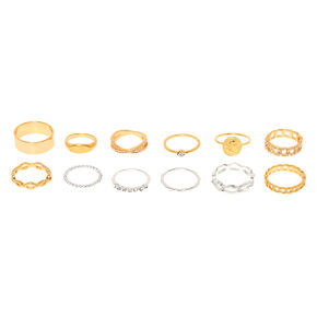 Mixed Metal Coin Chain Rings - 10 Pack,