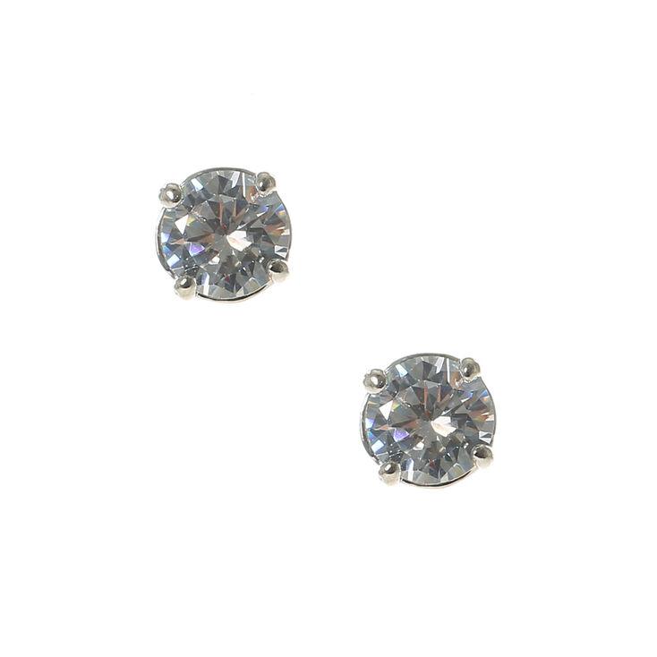 6MM Cubic Zirconia Stud Earrings,