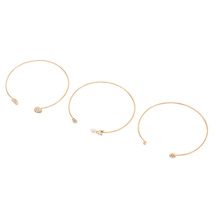 Faux Pearl & Stone Cuff Bracelet Set,